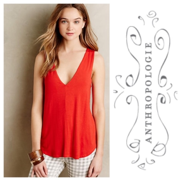 35f06ae87c Anthropologie Tops - {Anthropologie} Bordeaux Double V Swing Tank Top